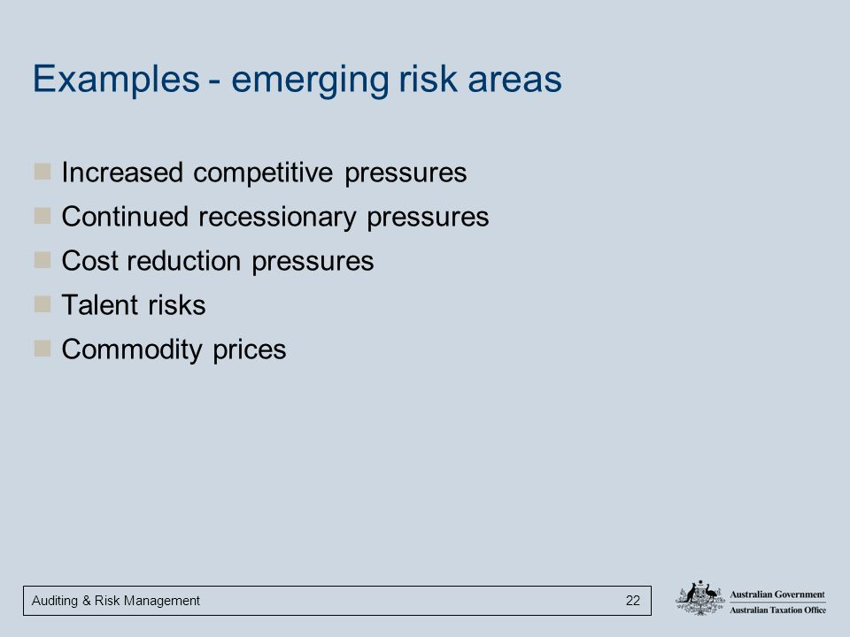 Examples - emerging risk areas