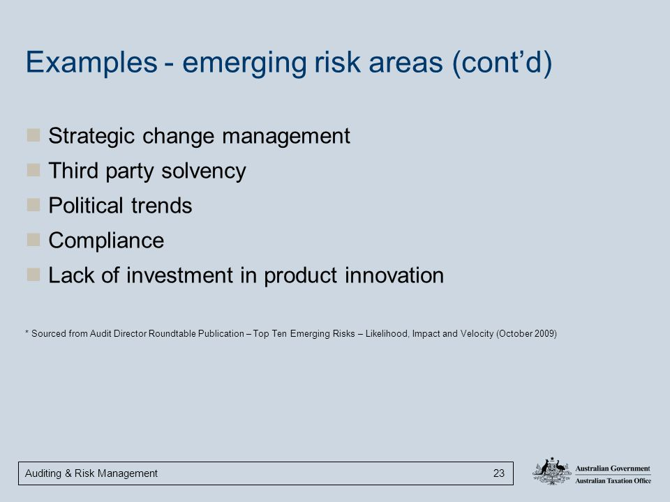 Examples - emerging risk areas (cont'd)