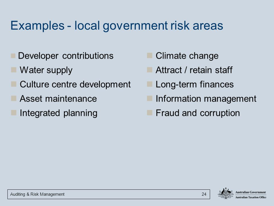 Examples - local government risk areas