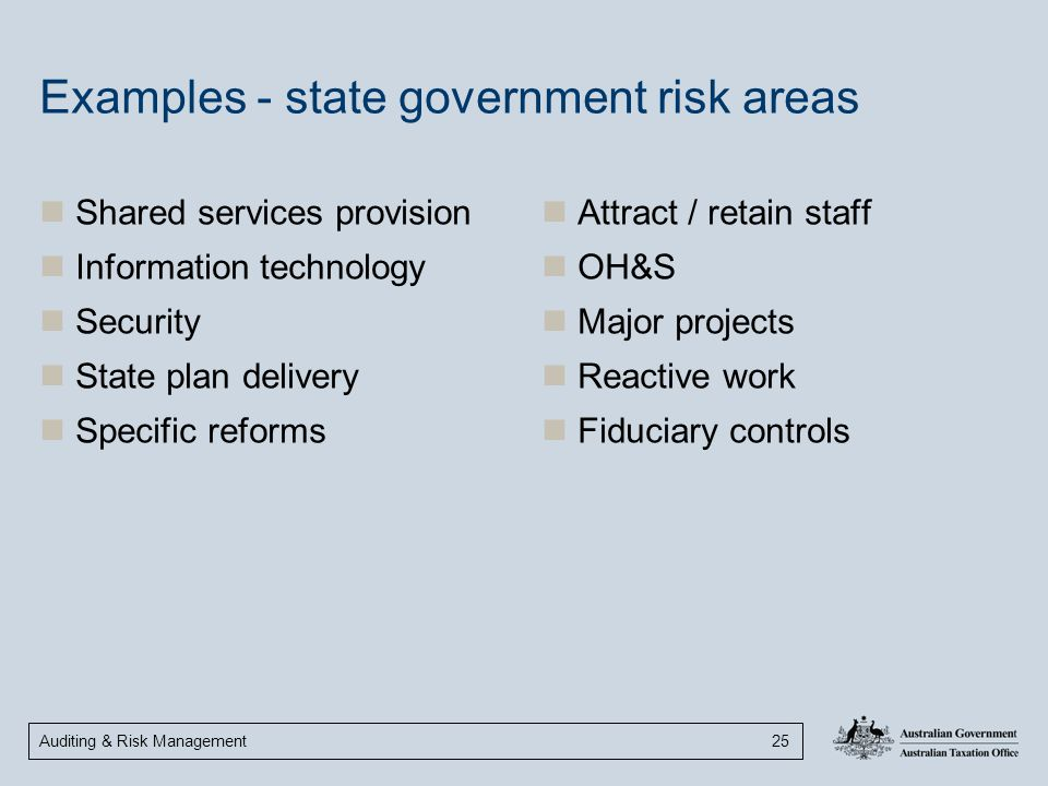 Examples - state government risk areas