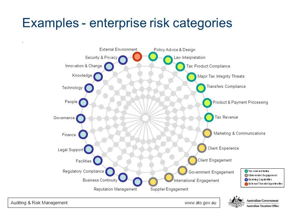 Examples - enterprise risk categories .