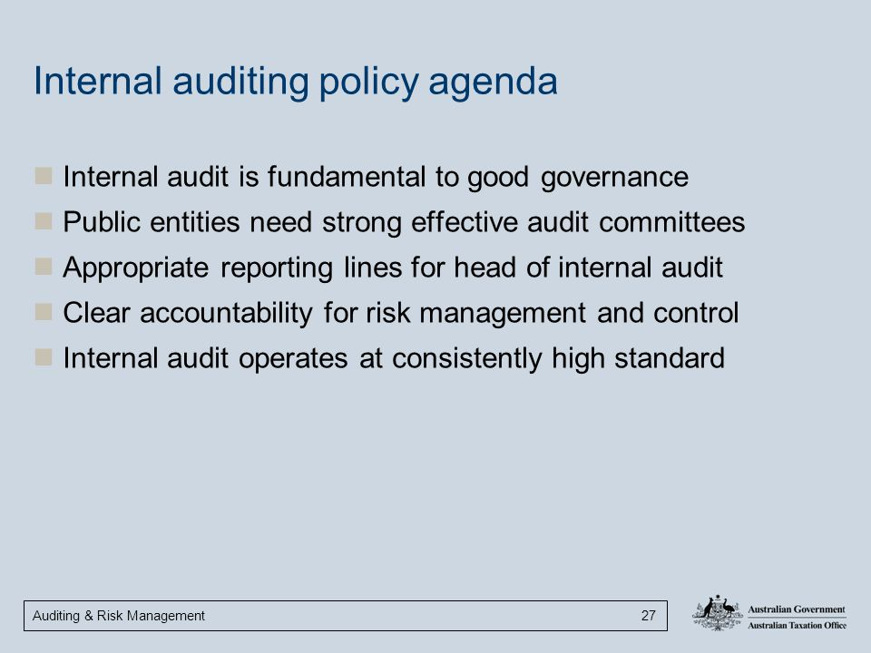 Internal auditing policy agenda