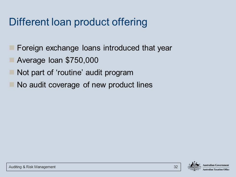 Different loan product offering