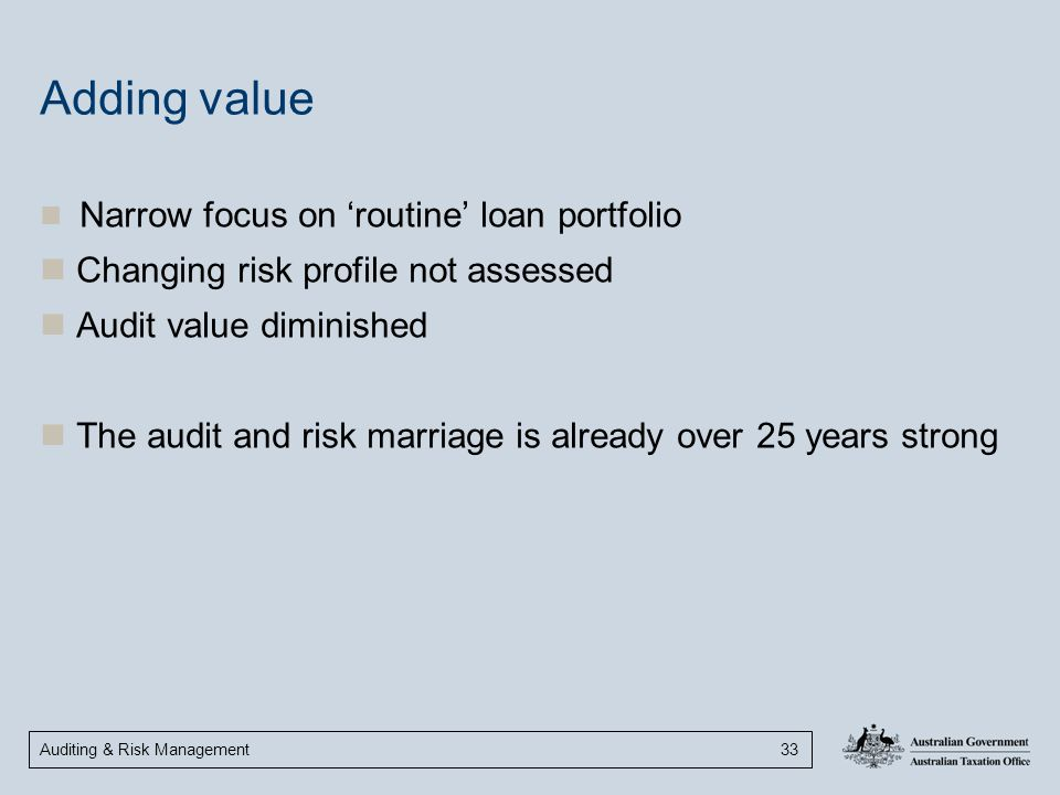 Adding value Changing risk profile not assessed Audit value diminished