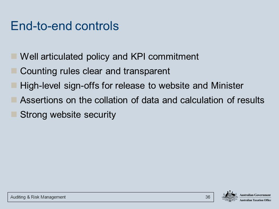 End-to-end controls Well articulated policy and KPI commitment