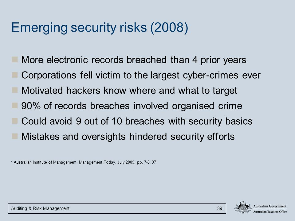 Emerging security risks (2008)
