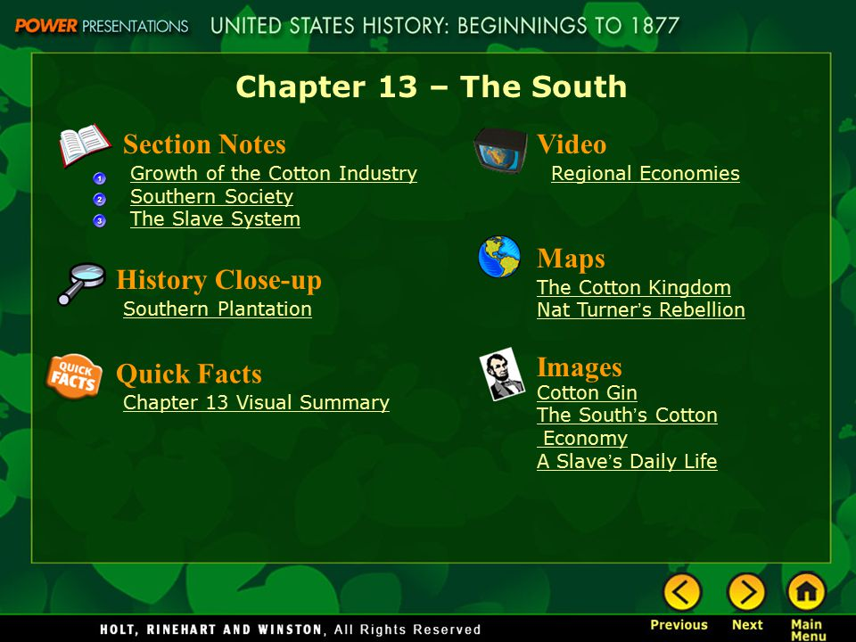Chapter 13 – The South Section Notes Video Maps History Close-up