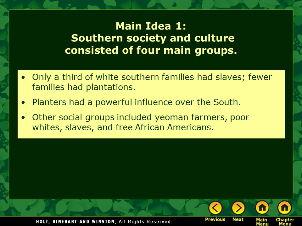 Main Idea 1: Southern society and culture consisted of four main groups.