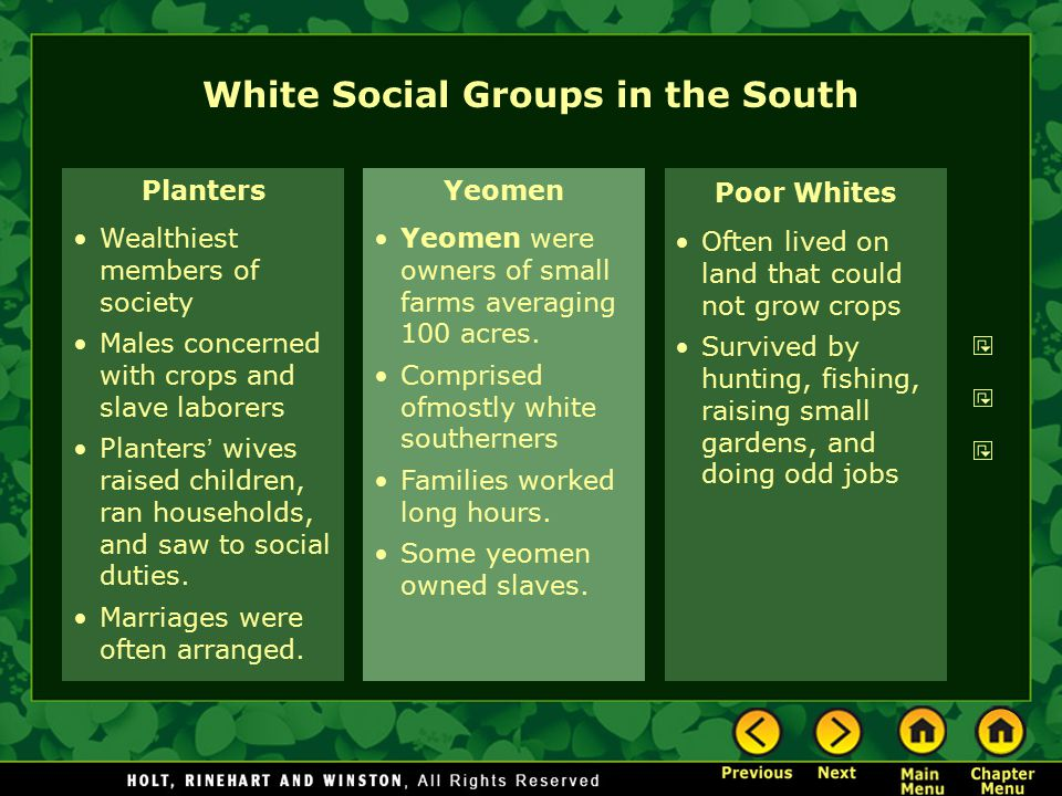 White Social Groups in the South