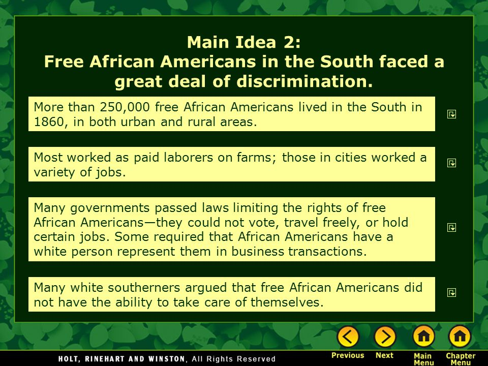 Main Idea 2: Free African Americans in the South faced a great deal of discrimination.