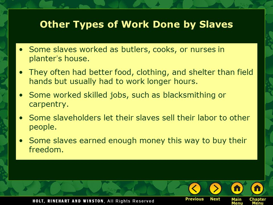 Other Types of Work Done by Slaves