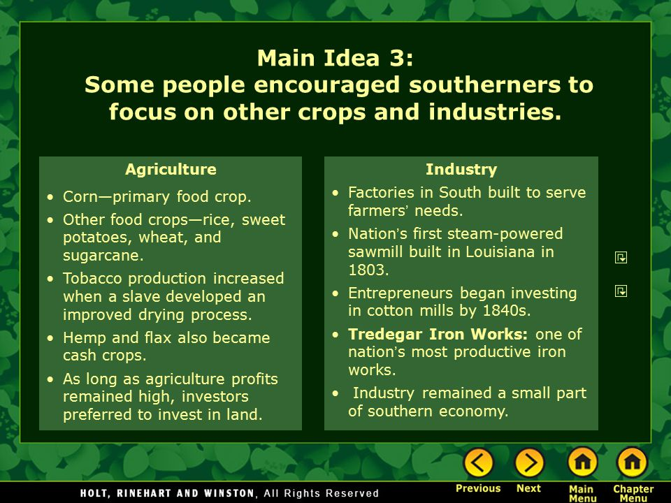 Main Idea 3: Some people encouraged southerners to focus on other crops and industries.
