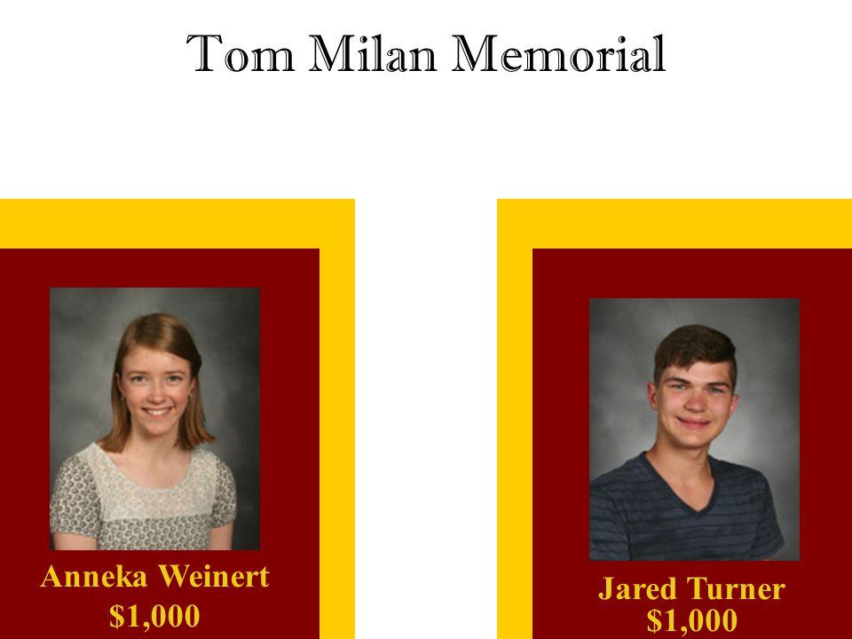 Tom Milan Memorial Anneka Weinert $1,000 Jared Turner $1,000