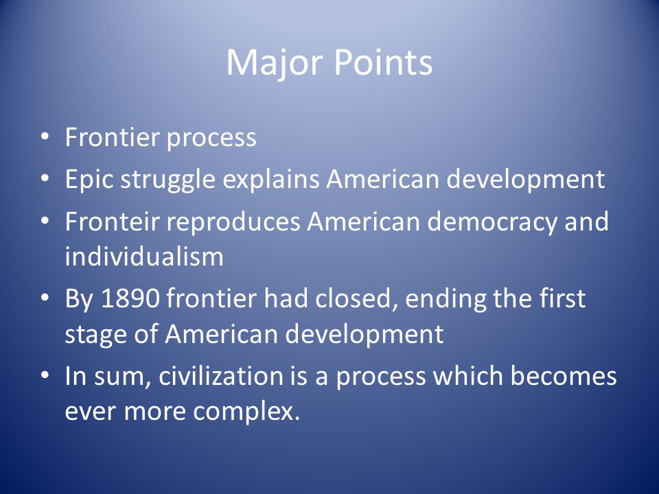 Major Points Frontier process