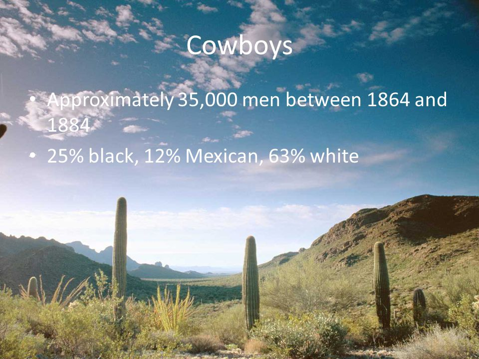 Cowboys Approximately 35,000 men between 1864 and 1884