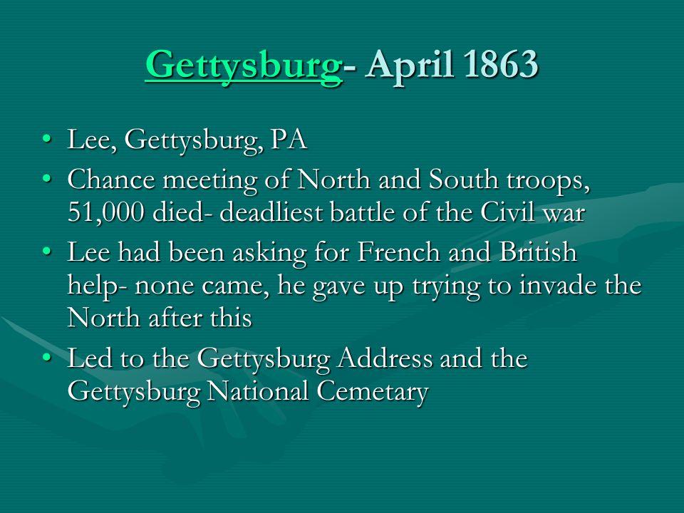 Gettysburg- April 1863 Lee, Gettysburg, PA
