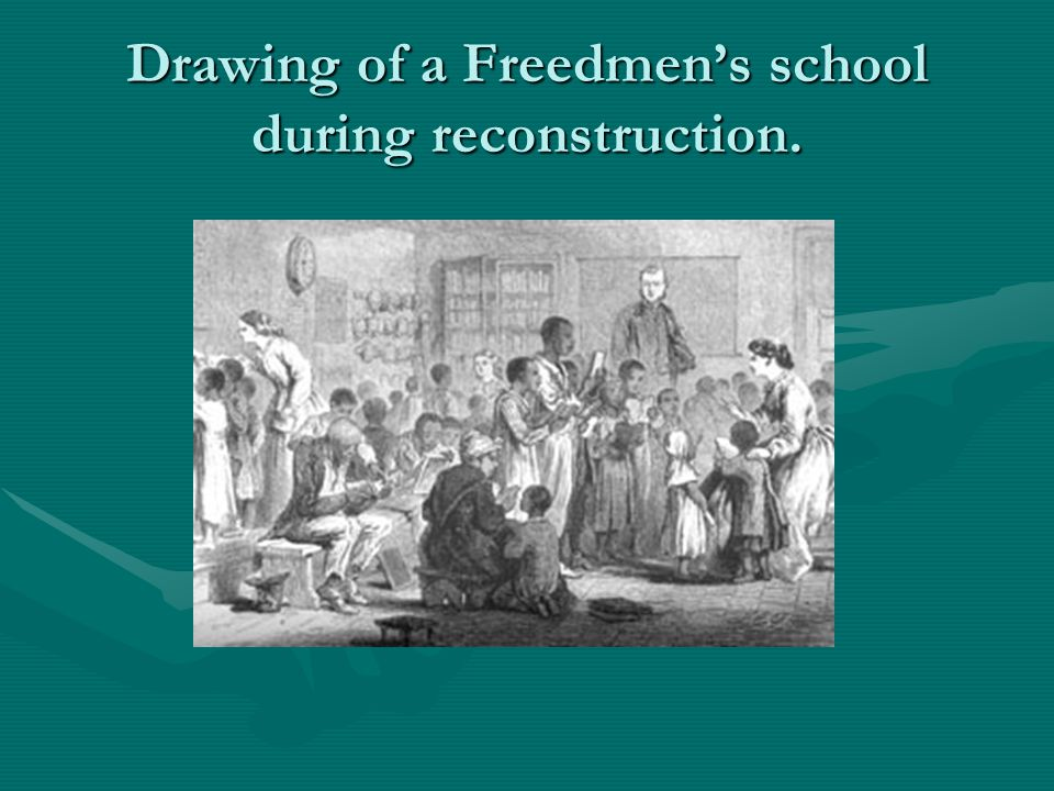 Drawing of a Freedmen's school during reconstruction.