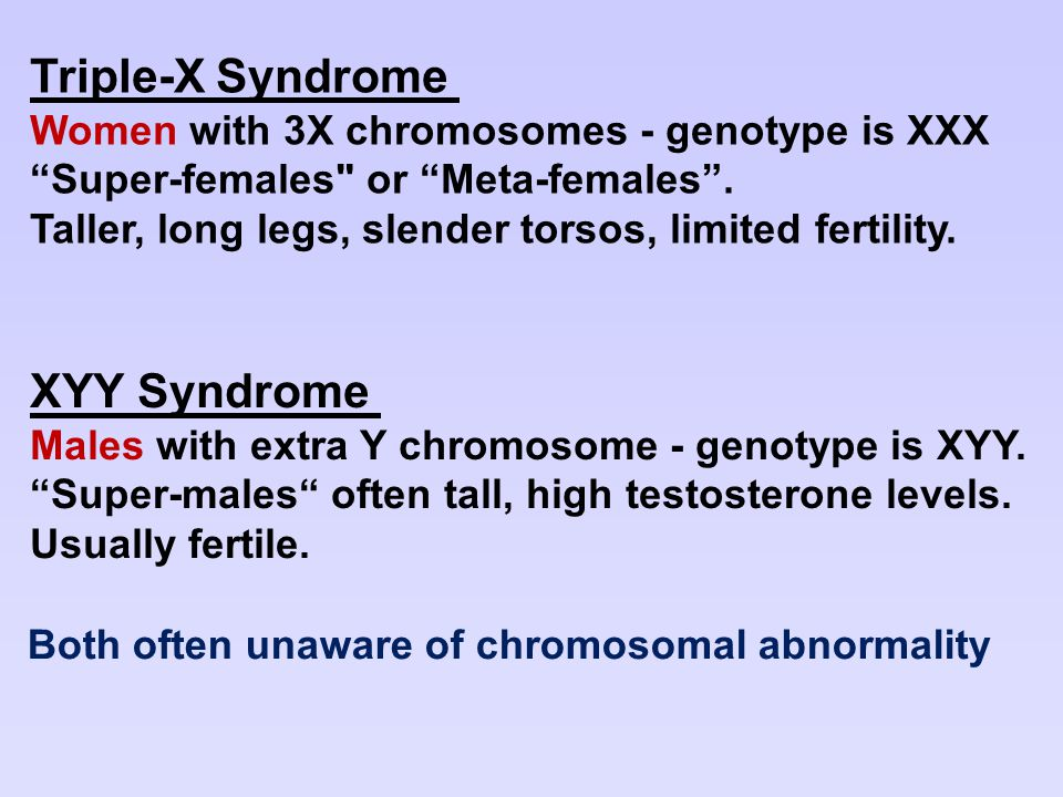 Triple-X Syndrome XYY Syndrome