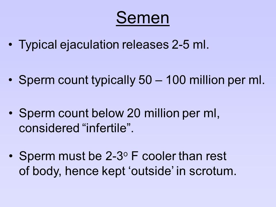 Semen Typical ejaculation releases 2-5 ml.