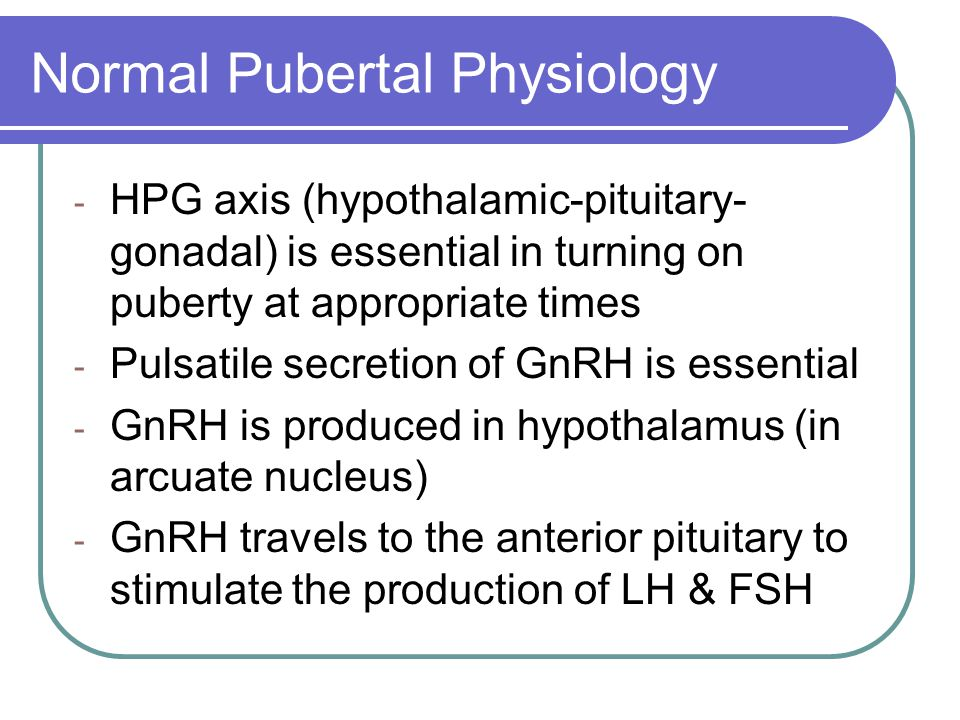 Normal Pubertal Physiology