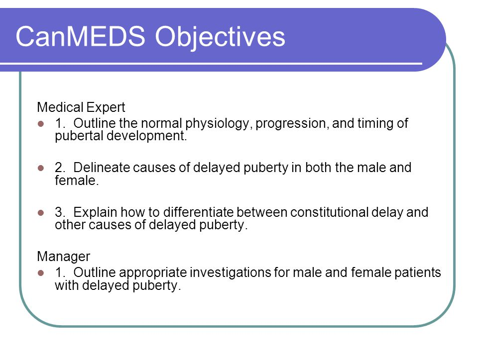 CanMEDS Objectives Medical Expert