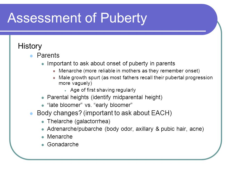 Assessment of Puberty History Parents