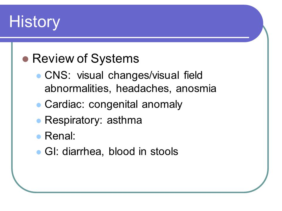 History Review of Systems