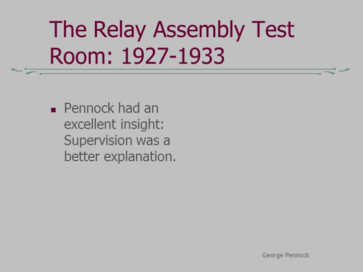 The Relay Assembly Test Room: 1927-1933