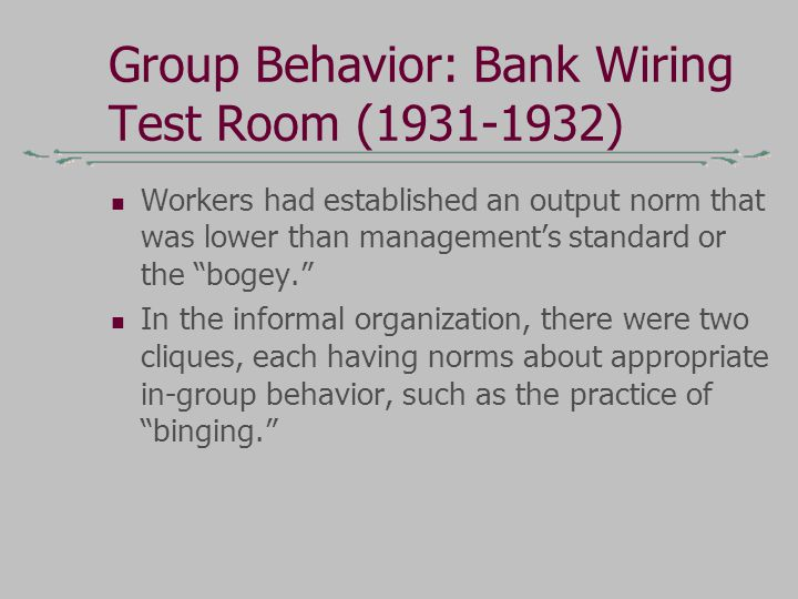 Group Behavior: Bank Wiring Test Room (1931-1932)