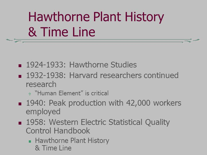 Hawthorne Plant History & Time Line