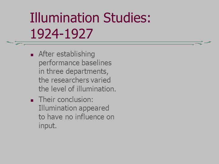 Illumination Studies: 1924-1927