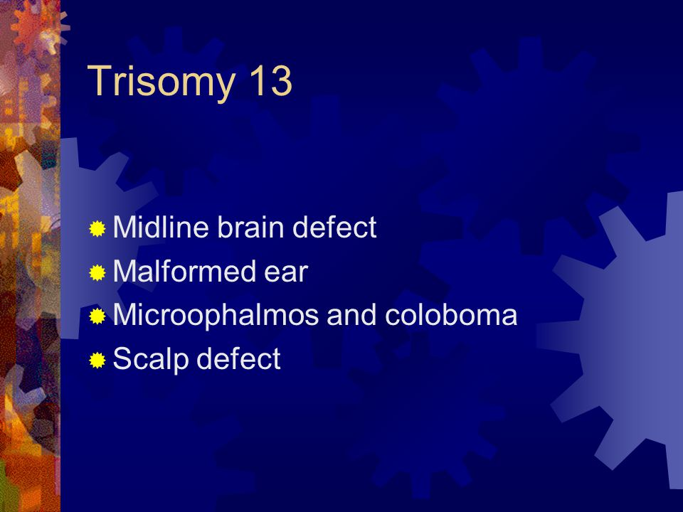 Trisomy 13 Midline brain defect Malformed ear
