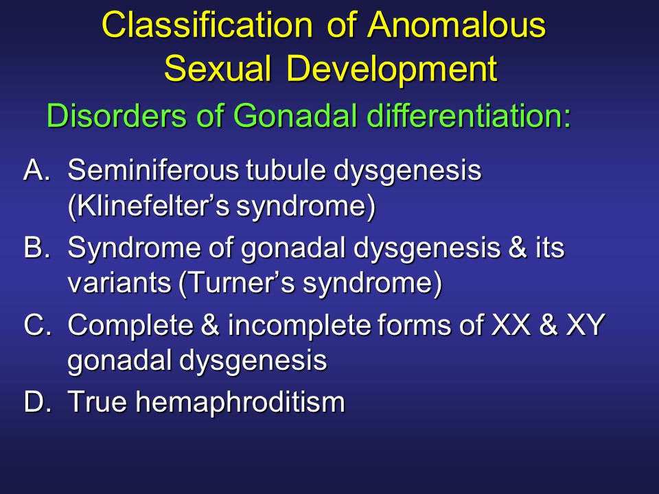 Classification of Anomalous Sexual Development