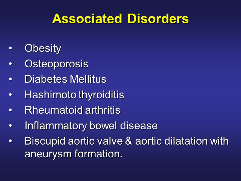 Associated Disorders Obesity Osteoporosis Diabetes Mellitus