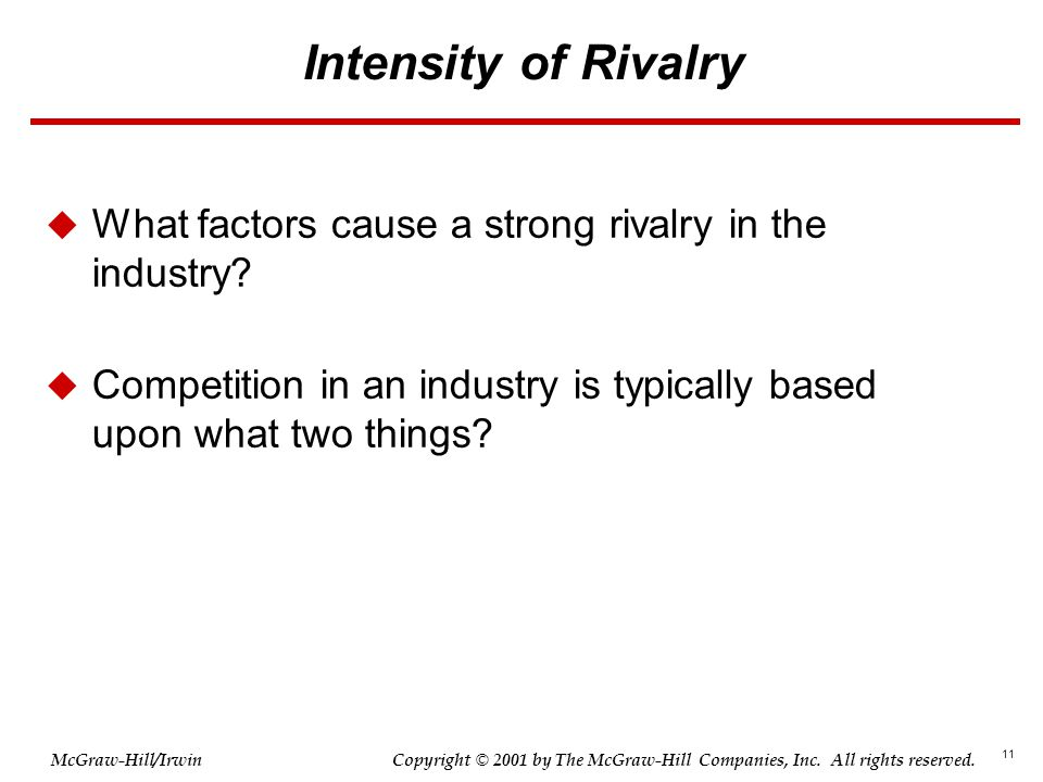 Intensity of Rivalry What factors cause a strong rivalry in the industry.