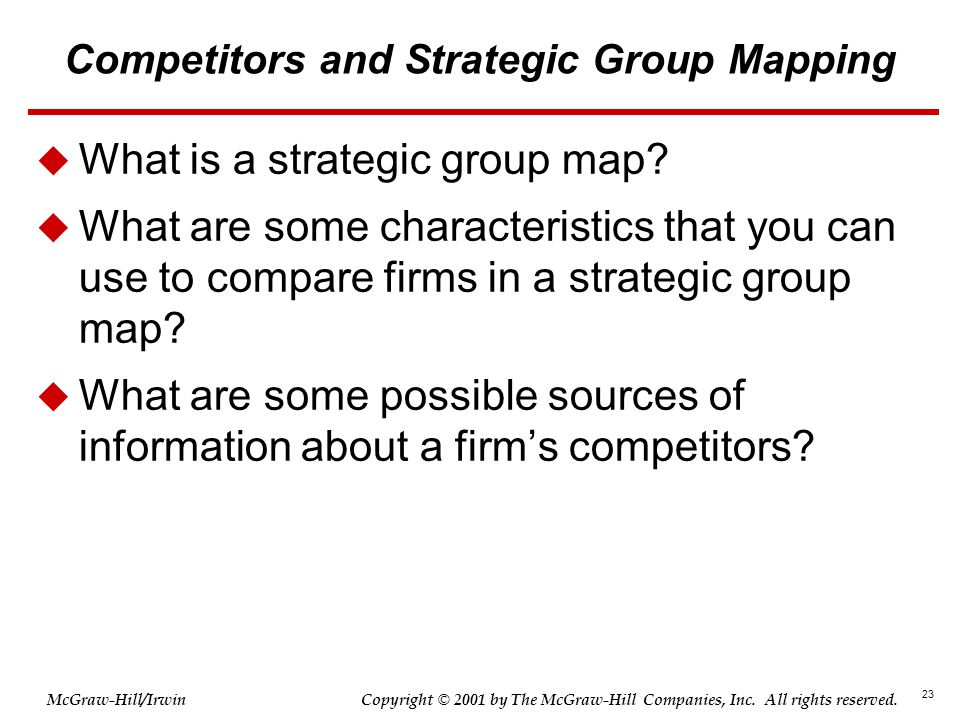 Competitors and Strategic Group Mapping