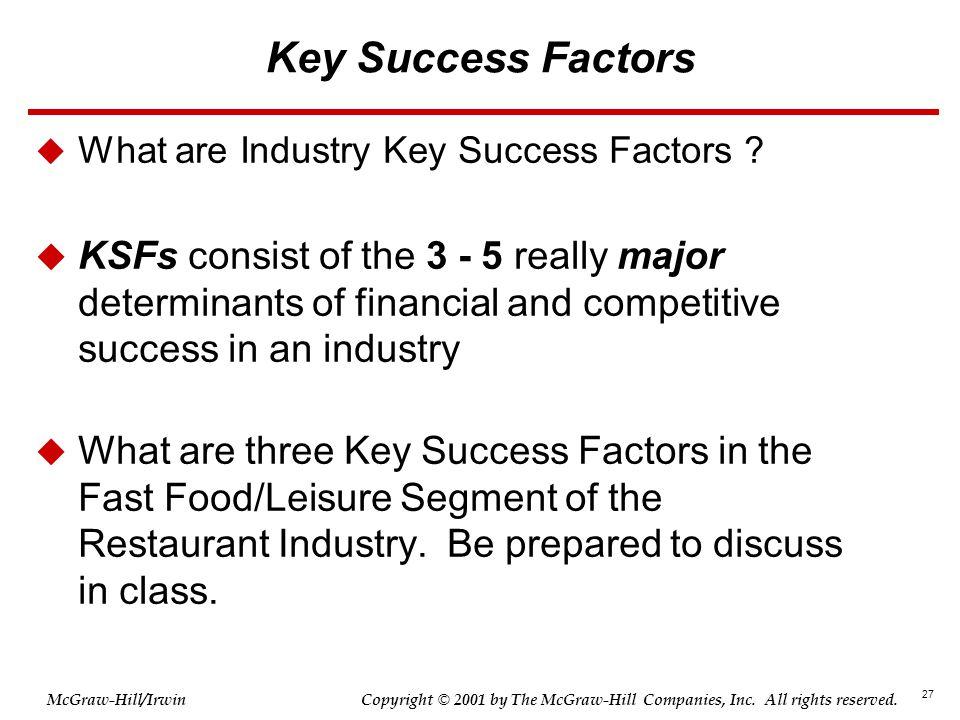 Key Success Factors What are Industry Key Success Factors