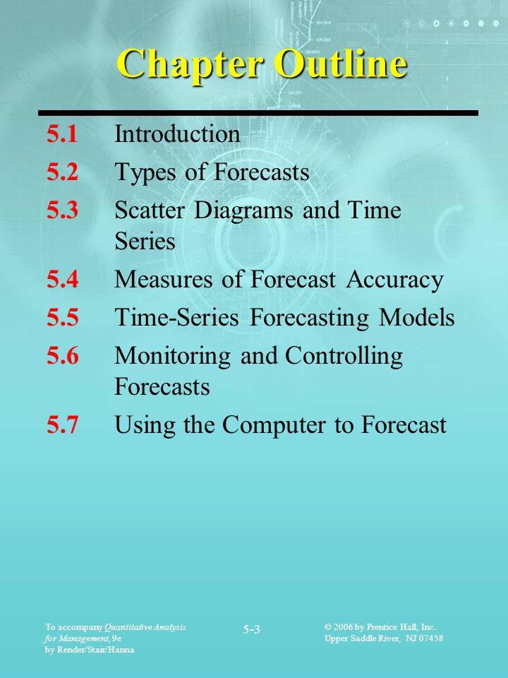 Chapter Outline 5.1 Introduction 5.2 Types of Forecasts