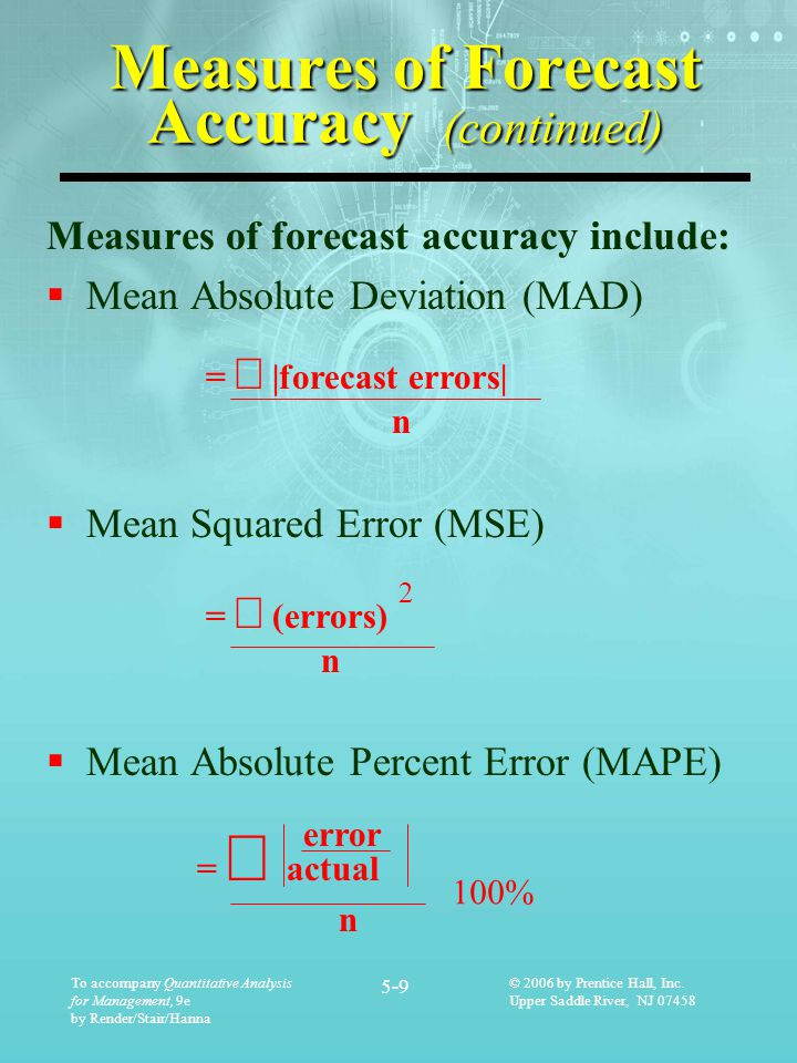 Measures of Forecast Accuracy (continued)