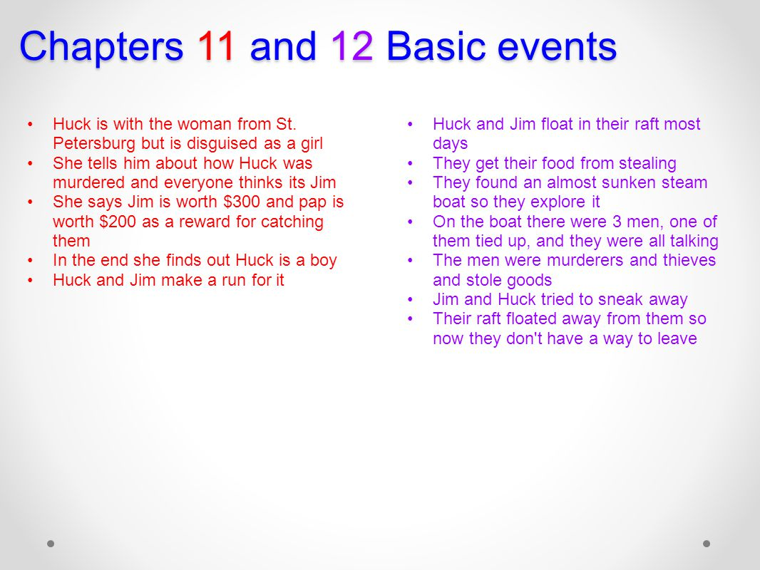 Chapters 11 and 12 Basic events