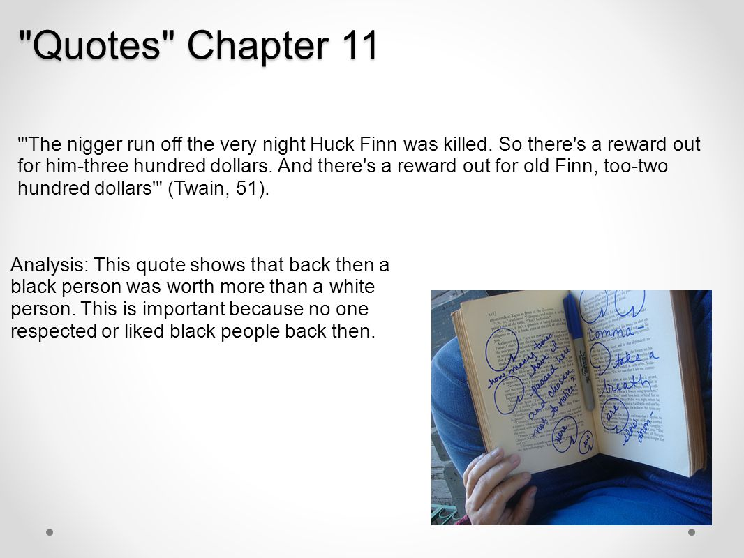 an analysis of huckleberry finn s chapter In the novel the adventures of huckleberry finn written by mark twain, there are several instances and use of satire chapter 18, concerning huck as he resides with.