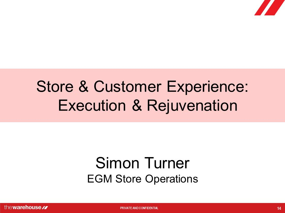 Store & Customer Experience: Execution & Rejuvenation