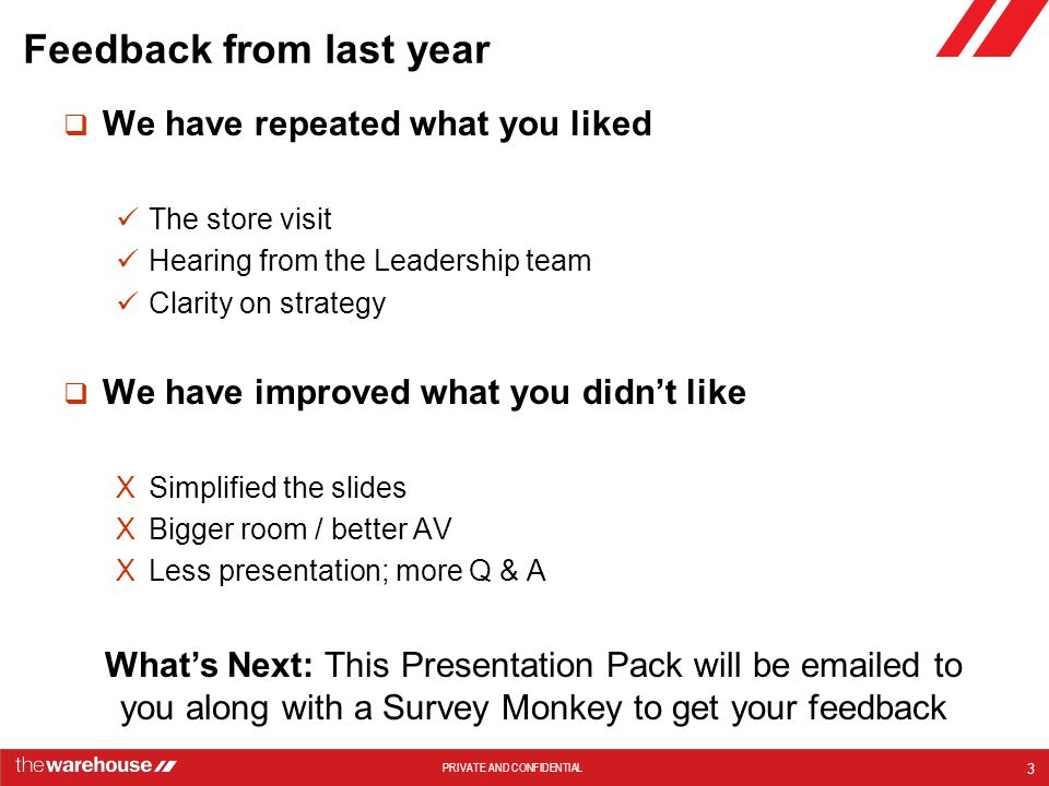 Feedback from last year
