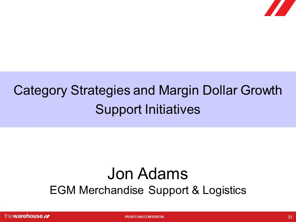 Category Strategies and Margin Dollar Growth Support Initiatives