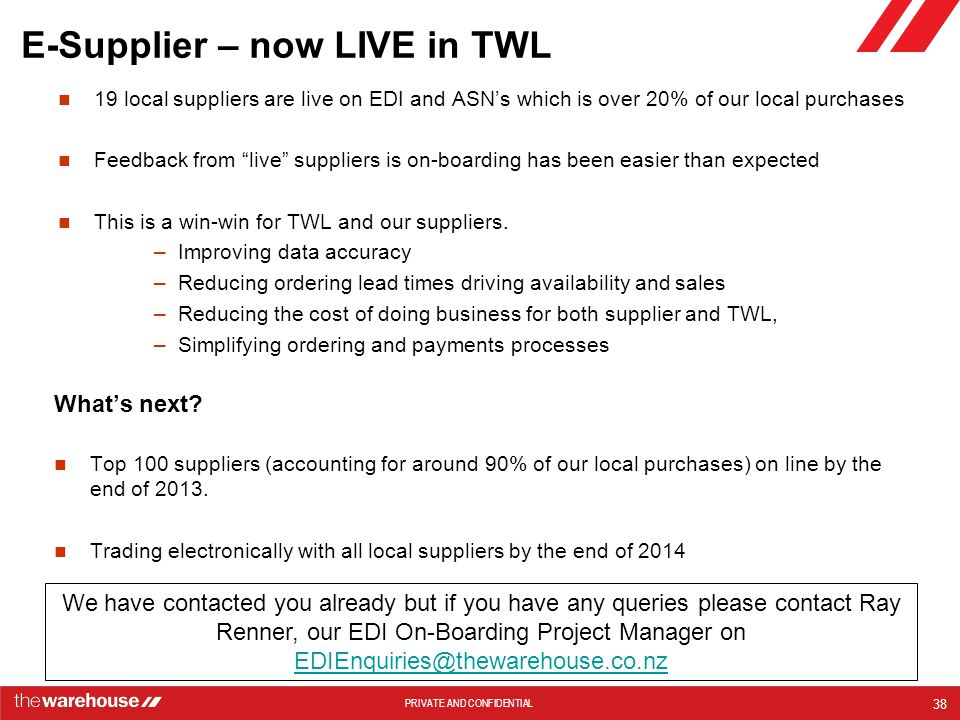 E-Supplier – now LIVE in TWL