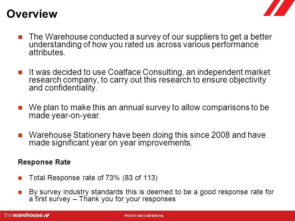 Overview The Warehouse conducted a survey of our suppliers to get a better understanding of how you rated us across various performance attributes.