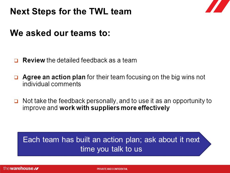 Next Steps for the TWL team We asked our teams to: