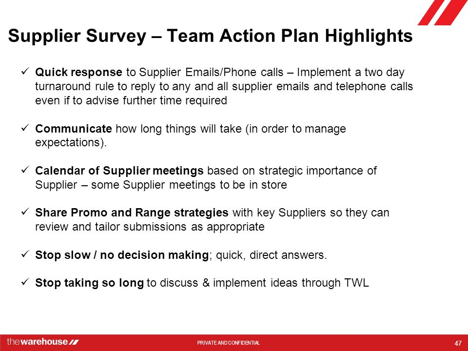 Supplier Survey – Team Action Plan Highlights