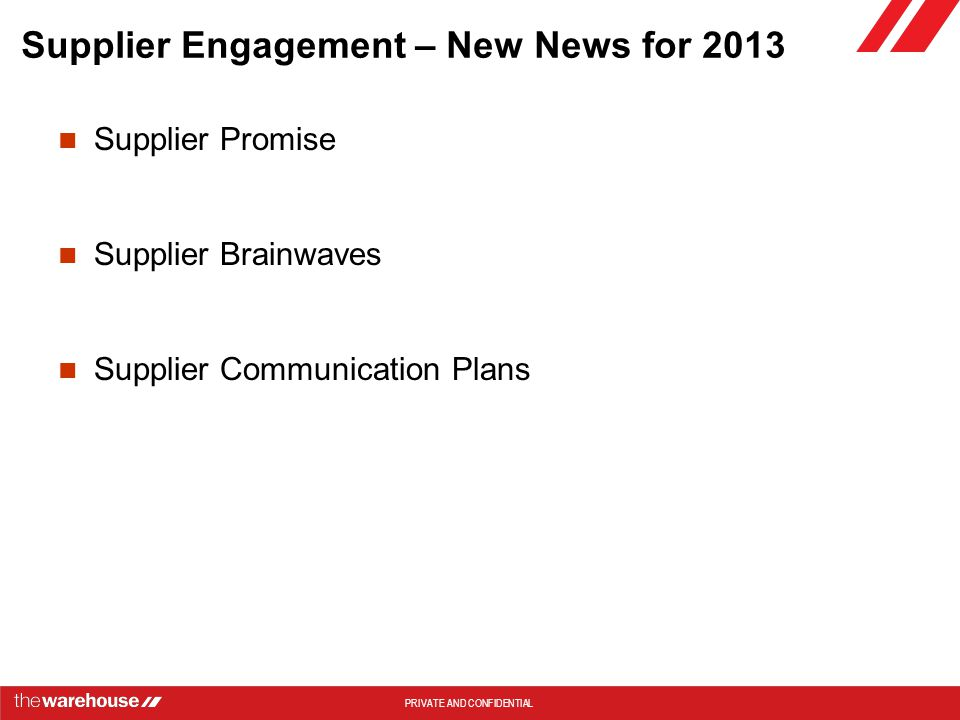 Supplier Engagement – New News for 2013