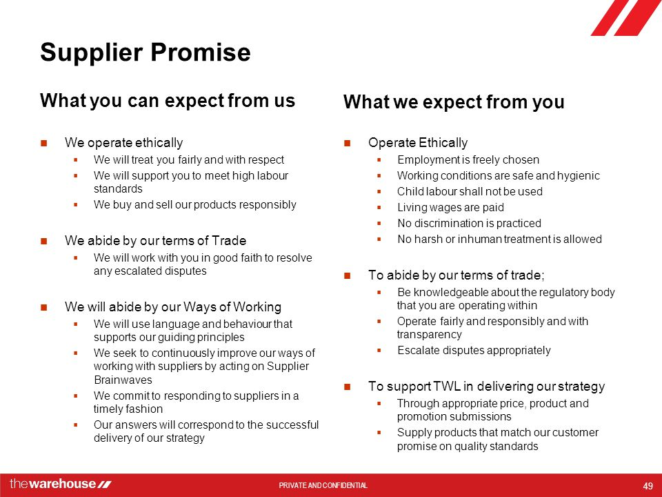 Supplier Promise What we expect from you What you can expect from us